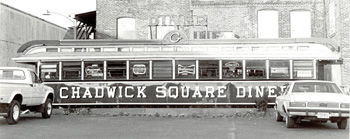 Chadwick Square Diner Photo by Paul Cotnoir, 1982. Built by Worcester Lunch Car Company in 1928; once stood at 414 Grove Street. (Worcester Historical Museum)