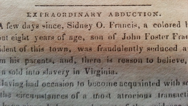 "Headline ""Extraordinary Abduction,"" National Aegis, September 25, 1839."