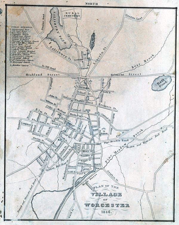 """Plan of the Village of Worcester,"" 1846."