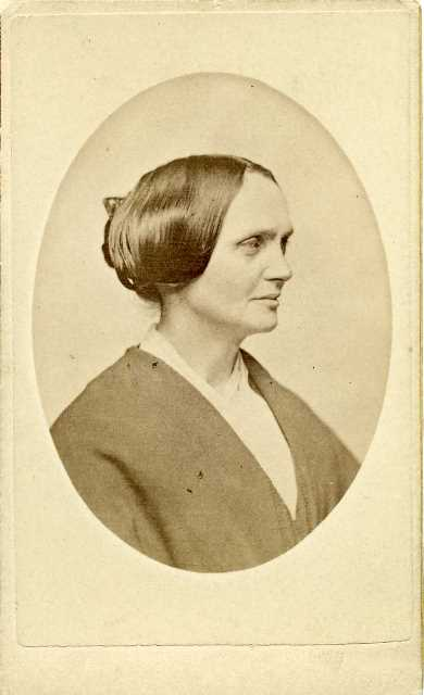 Portrait of Abby Kelley Foster, carte de visite, c. 1861. From the Collections of Worcester Historical Museum.